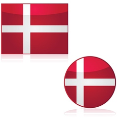 Denmark flag and button vector image vector image