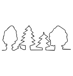 drawn with one line trees in forest vector image vector image
