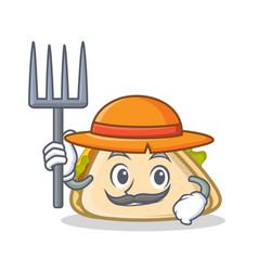 farmer sandwich character cartoon style vector image