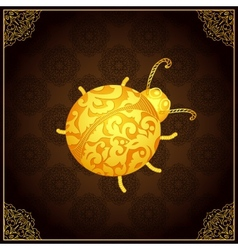 Gold ladybug icon with lace elegant ornament vector