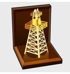 Golden figure electric tower in gift box vector