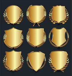 Golden shield retro design vector