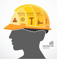 Infographic template with construction concept vector