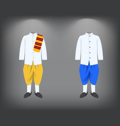 Isolated men suit traditional thai costume vector