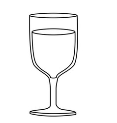 Monochrome silhouette of glass of wine vector