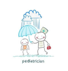 Pediatrician holding an umbrella over the child in vector