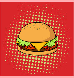 retro delicious hamburger junk food pop art vector image vector image