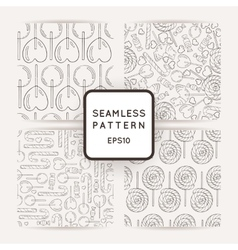 Set of seamless patterns with bows and hearts vector image