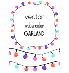 two seamless borders with watercolor garland and vector image