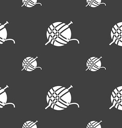 Yarn ball icon sign Seamless pattern on a gray vector image