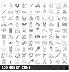 100 hobby icons set outline style vector