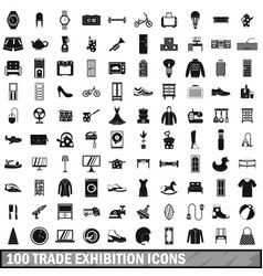 100 trade exhibition icons set simple style vector