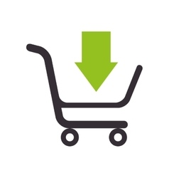 Cart add arrow supermarket shopping icon vector