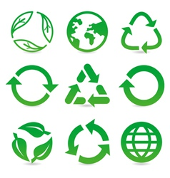 Collection with recycle signs vector