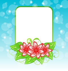 Romantic card with flowers and place for text vector image