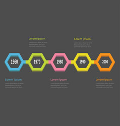 five step timeline infographic colorful 3d vector image