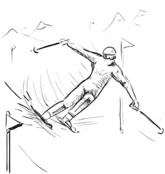 Skiing man on competitions vector image