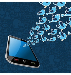 Twitter birds splash out smartphone application vector image