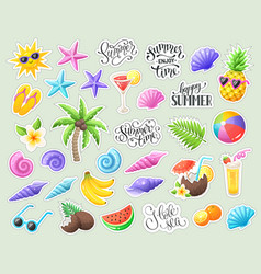 Tropical summer stickers vector