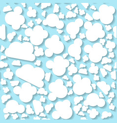 Seamless white origami pattern with clouds vector