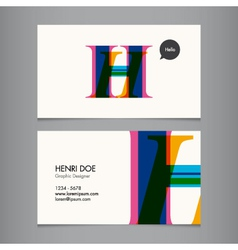 H business card vector image