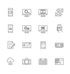 Business and mobile technology icon set line icon vector