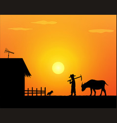 Back to home alone life farmer in countryside vector