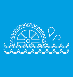 Old water wheel icon outline style vector
