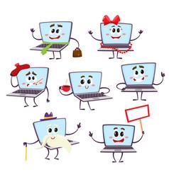 Set of funny cartoon laptop computer characters vector