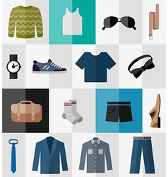 Set of flat men clothes and accessories icons vector