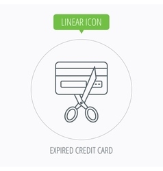 Expired credit card icon shopping sign vector