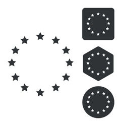 European union icon set monochrome vector
