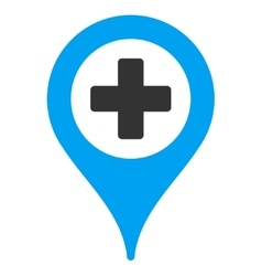 Hospital map pointer icon vector