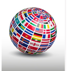 Globe made out of world flags vector