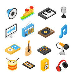 Music isometric 3d icons vector image