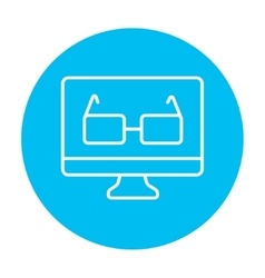 Glasses on computer monitor line icon vector