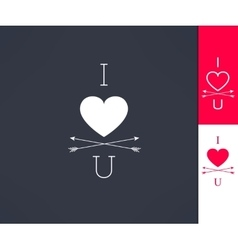 Set of i love you hipster design with heart vector
