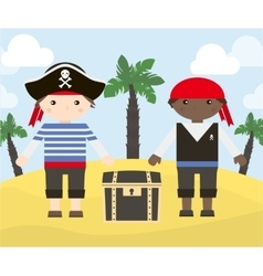 Two cartoon characters of pirates vector