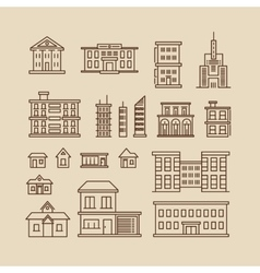 Buildings line thin icons vector