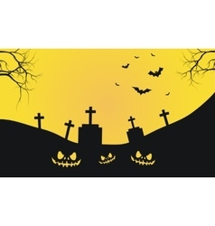 Halloween with graves and scary face silhouette vector