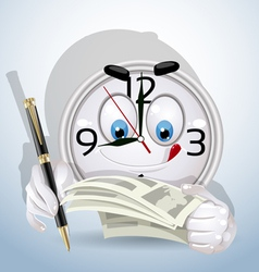 Watch smile began working day to sign documents vector image