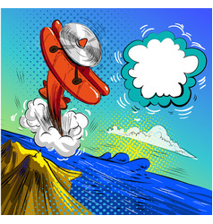 airplane crash pop art vector image vector image