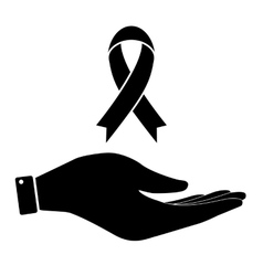 Awareness ribbon in hand icon vector image