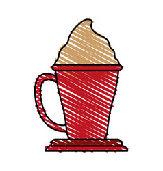 Beverage with foam in cup or mug coffee related vector