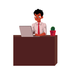 Black african american businessman working on vector