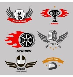 Car racing badges and motorcycle service vector