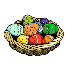 cartoon image of basket with easter eggs icon vector image vector image
