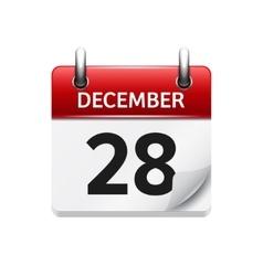 December 28 flat daily calendar icon vector