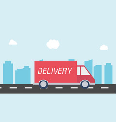 Delivery car on the road with city background vector