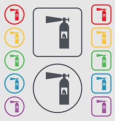 Fire extinguisher icon sign symbols on the round vector